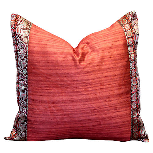 Red Floral Heritage Silk Pillow
