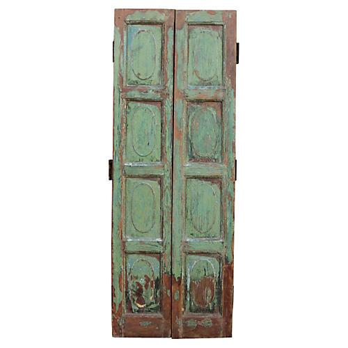 Antique Painted Doors, Pair