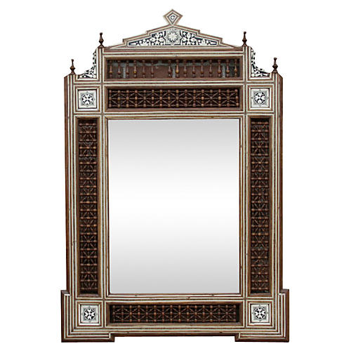 Syrian Carved Mirror w/ Bone Inlay