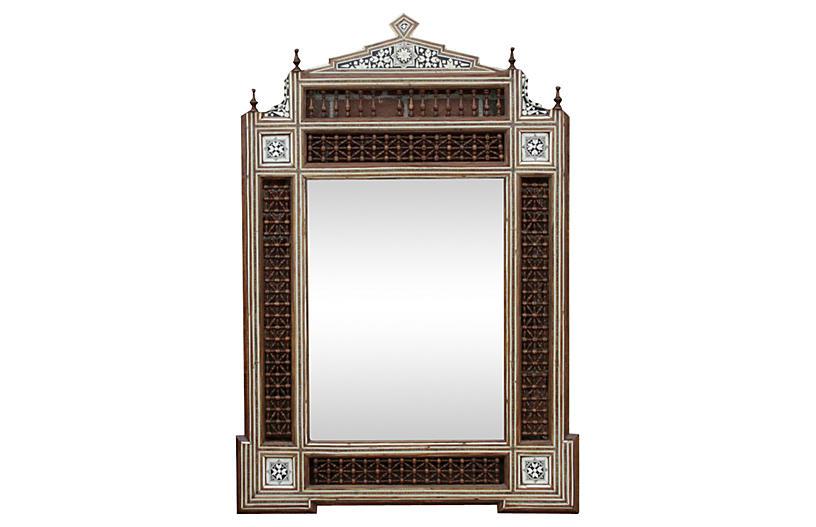 Syrian Carved Mirror w/ Bone Inlay