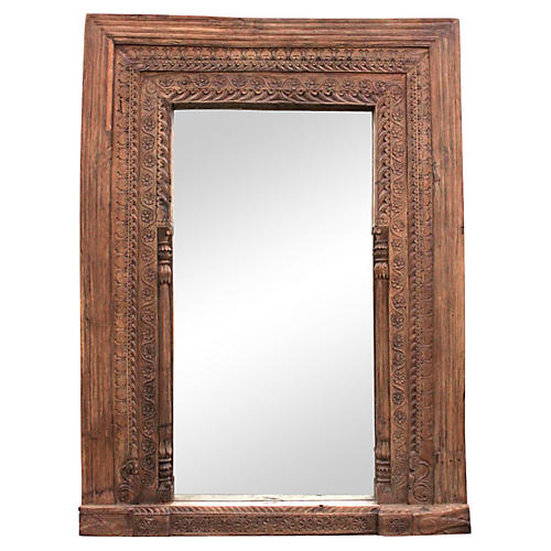 Fantastic 19th C. Carved Floor Mirror