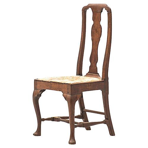 Antique English Oak Queen Anne Chair