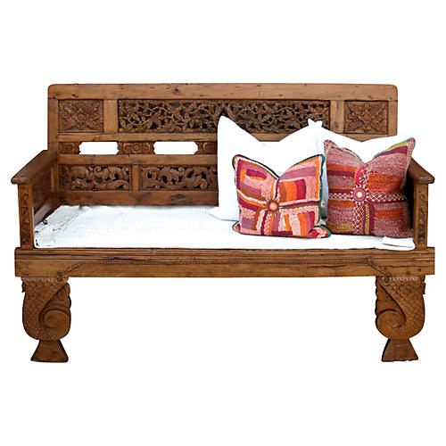 Robust Bali Carved Teak Daybed