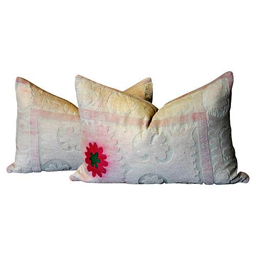 Gul Suzani Lumbar Pillows, Pair