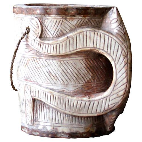 Ao Naga Tribal Carved Bucket