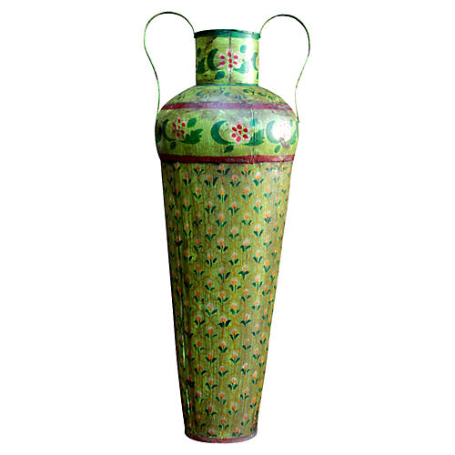 Tall Green Toleware Vase