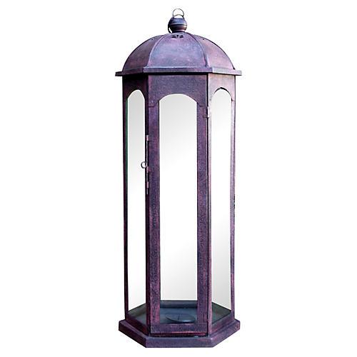 Red Acanthus Glass Lantern