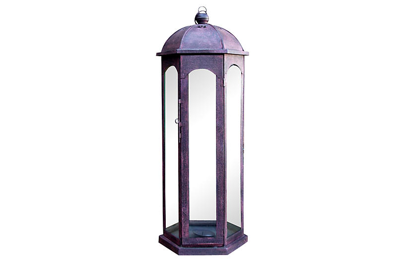 Red Acanthus Glass Lantern