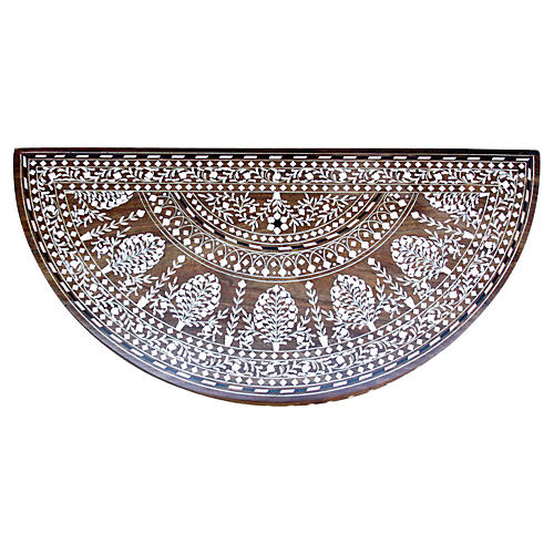 Demilune Botanical Faux-Bone Inlay Tray
