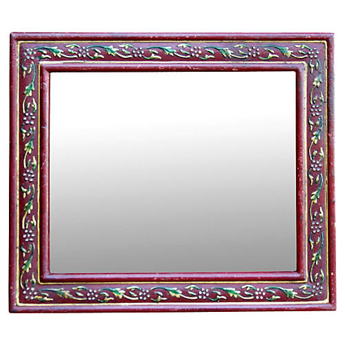 Red Folk Painted Accent Mirror