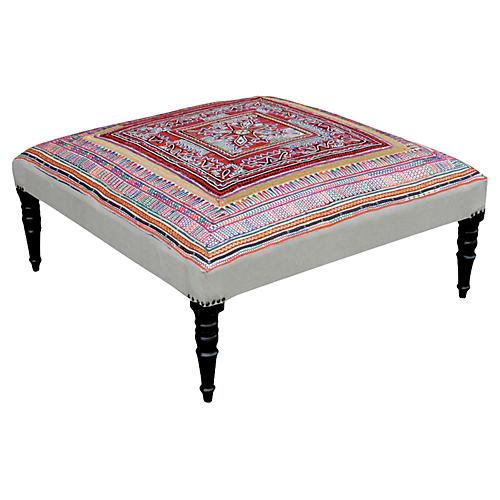Embroidered Rabari Tapestry Ottoman