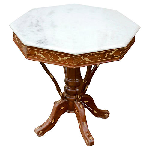 Antique Colonial Marble-Top Side Table