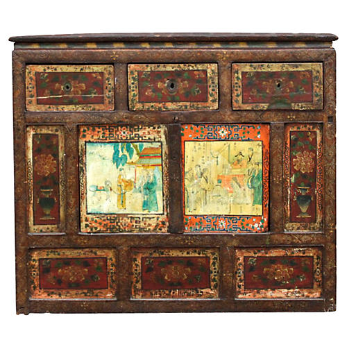 19th-C. Painted Tibetan Buffet