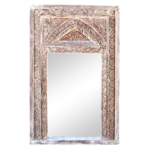 Arched Whitewash Carved Mirror