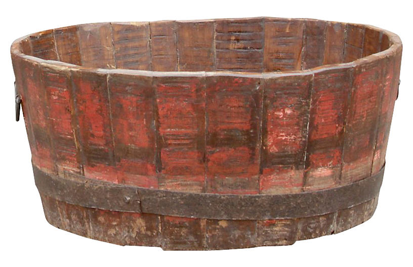 Red Barrel Planter