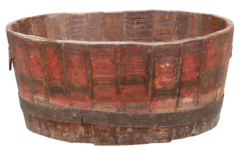 Red Barrel Planter