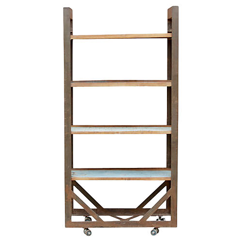 Industrial Teak & Iron Bookcase
