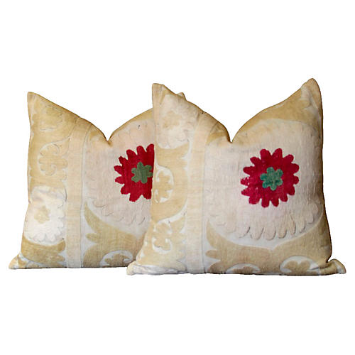 Antique Suzani Pillows, Pair