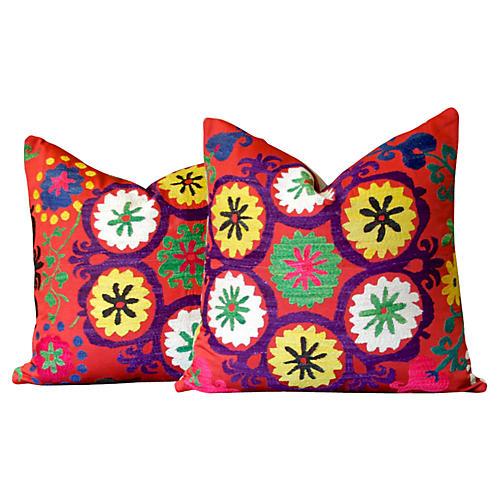 Antique Suzani Pillows, Pair