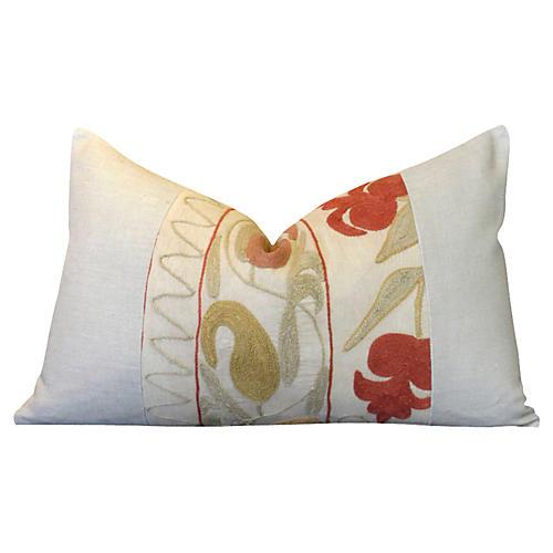 Abani Linen Suzani Lumbar Pillow