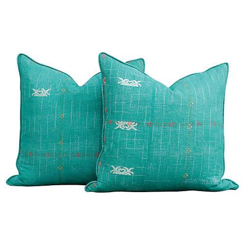 Emerald Kantha Pillows, Pair