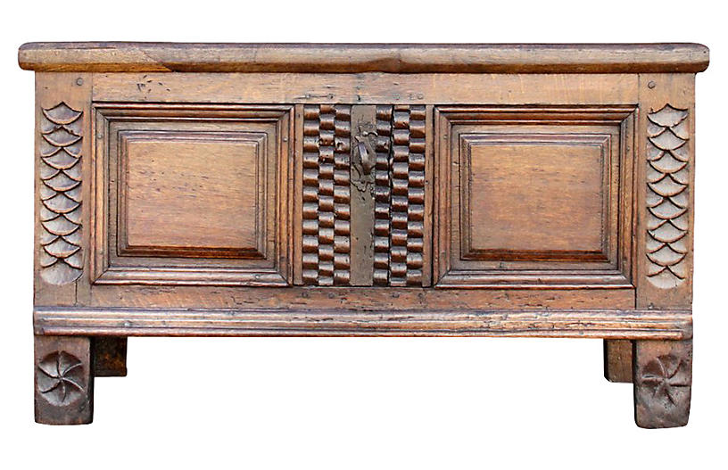 18th C. Carved English Oak Trunk