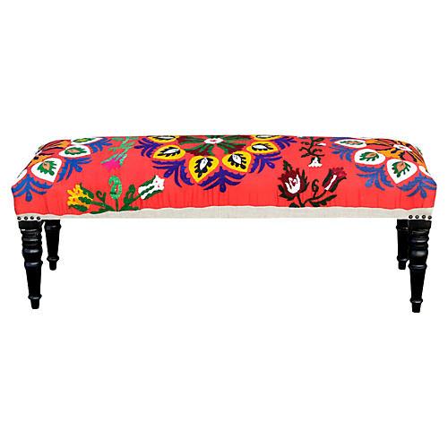 Red Fergana Vintage Suzani Bench