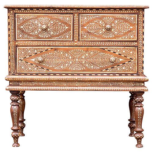 Huballi Inlaid Colonial Dresser on Legs