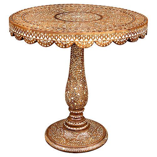 Damascene Bone Inlay Pedestal Table