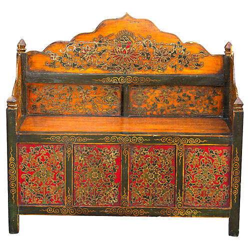 Aged Tibetan Hand Painted Bench