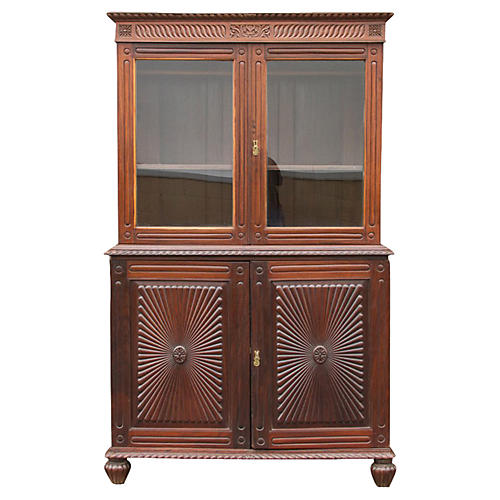 Antique Refined Sunburst Buffet Cabinet