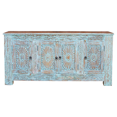 Beautiful Azure Sunburst Sideboard