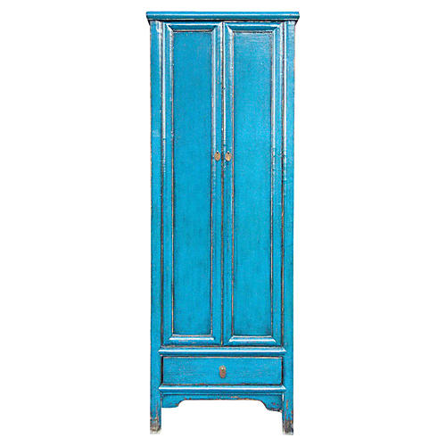 Vibrant Blue Tall Slim Armoire