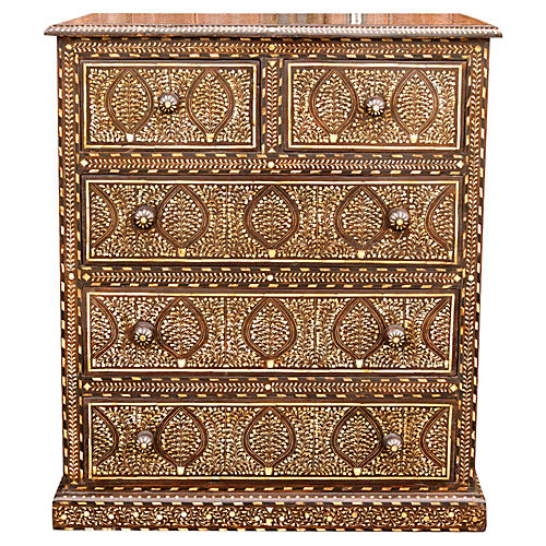 Marvelous Inlaid tall Chest of Drawers