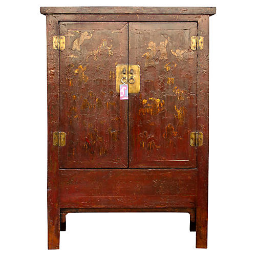 Chinoserie Red & Gilt Cabinet