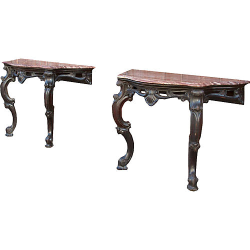 Carved Anglo Indian Marble Tables, Pair