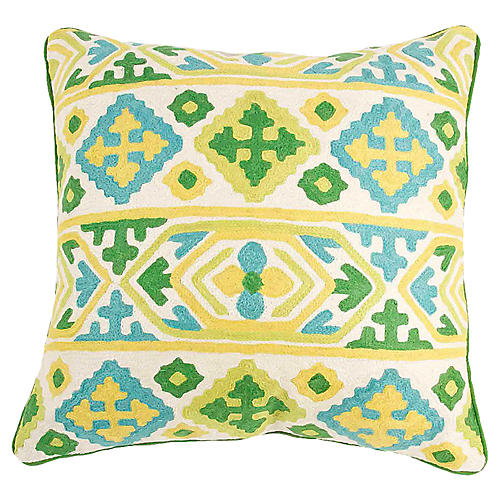 Floral Medallion Embroidered Pillow