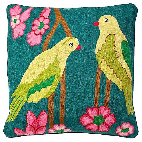 Verde Birds Crewel Embroidered Pillow