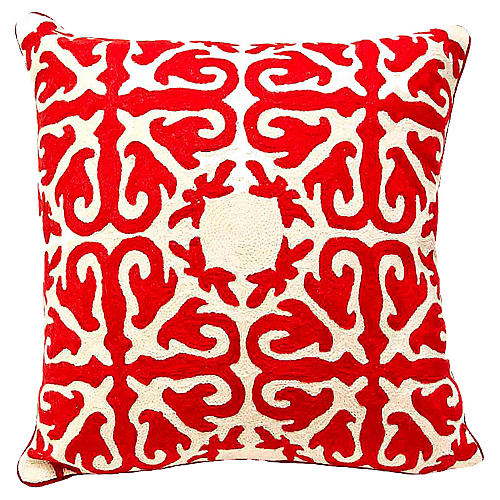 Ruby Red Embroidered Pillow