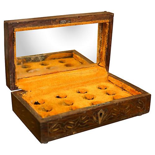 19th-C. Brass Inlay Perfume Box