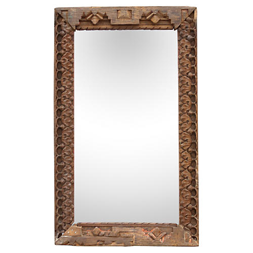 Geometric Carved Mirror