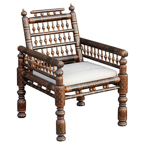 Antique Polychrome Painted Gujrat Chair