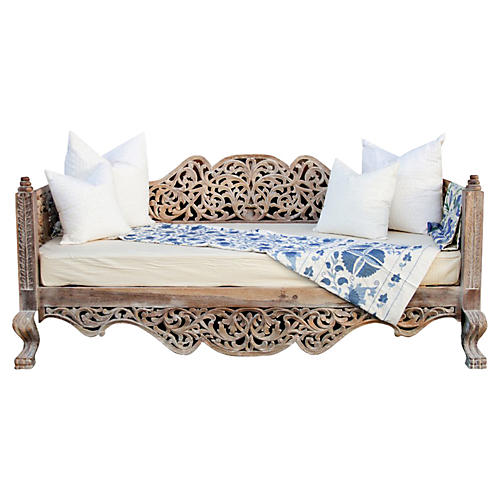Rajasthani Anglo Indian Carved Daybed