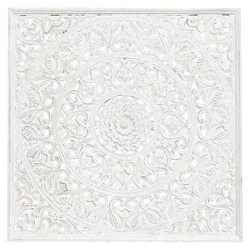 White Lotus Carved Wall Panel