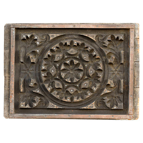 Antique Mandala Woodblock Panel