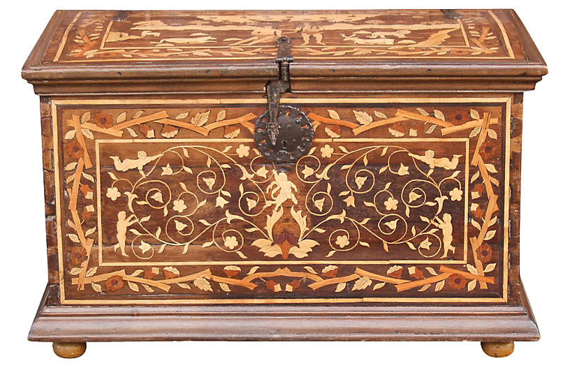 Rare Spanish Colonial Marquetry Chest