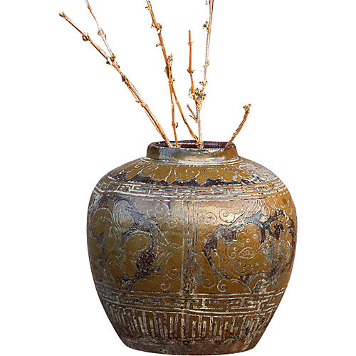 Antique Floral Martaban Jar