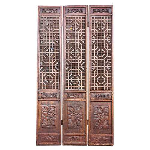 Vintage Chinese 3 Panel Screen