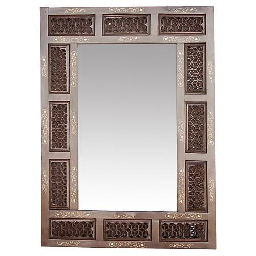 Mid 20th C. Moorish Brass Inlaid Mirror