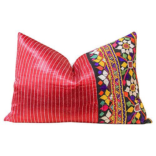 Antique Mashru Lumbar Pillow